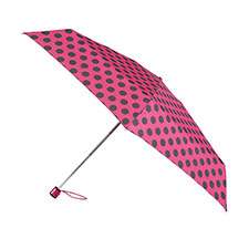 totes Miniflat Raspberry/Black Big Dot Print Umbrella