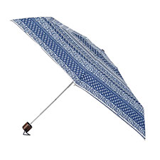 totes Miniflat Navy/Cream Stripe Print Umbrella