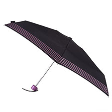 totes Compact Round Glitter Stripe Print Umbrella (5 Section)