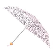 totes Supermini Wooden Handle Doodle Cat Print Umbrella (3 Section)