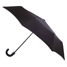 totes Manual Leatherette Crook Black Umbrella