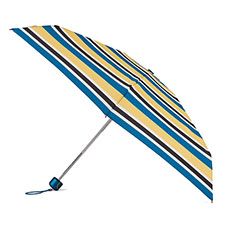 totes Mini X-TRA STRONG Teal Nautical Stripe Print Umbrella (5 Section)