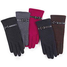 Isotoner Ladies Basic Thermal PU Gloves with Bow