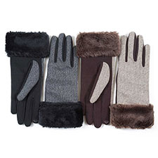 Isotoner Ladies Fur Cuff Lurex Thermal Glove