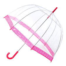 totes Ladies PVC Dome Spotted Hearts Umbrella