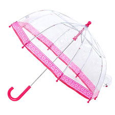 totes Childrens PVC Dome Spotted Hearts Umbrella
