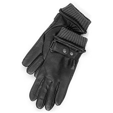 isotoner Leather Gloves with Knit Cuff & Strap