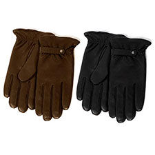 isotoner Cashmere Lined Leather Glove with Strap