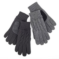 isotoner Mens Thinsulate Lined Cable Knit Gloves