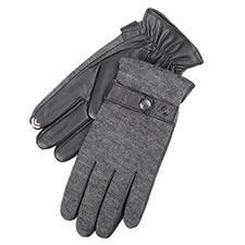 isotoner Mens Knit & Leather Smartouch Gloves