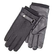 isotoner Mens Quilted & Leather Smartouch Gloves
