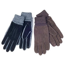 isotoner Mens Knit Cuff Suede Smartouch Gloves