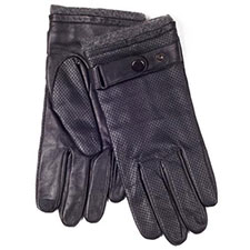 isotoner Mens Punched Leather Smartouch Gloves