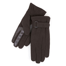 Isotoner Mens Smartouch Fleece Gloves Black