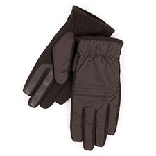 Isotoner Mens Smartouch Nylon and Fleece Gloves Black