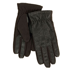Isotoner Mens Smartouch Tweed and Fleece Gloves Grey