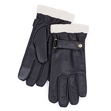 Smartouch Mens Pu Gloves With Berber Cuff
