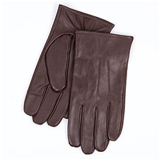 Isotoner Mens Smartouch 3 Point Gloves Brown