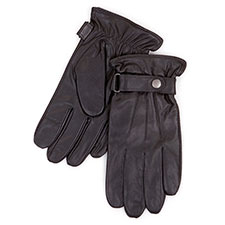 Isotoner Mens Smartouch Leather Gloves Black