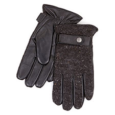 Isotoner Mens Smartouch Knit Leather Gloves