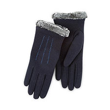 Isotoner Ladies Thermal Gloves with Fur Cuff  Navy