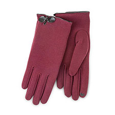 Isotoner Ladies Smartouch Thermal Gloves with Bow Berry