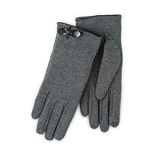 Isotoner Ladies Smartouch Thermal Gloves with Bow Dark Grey