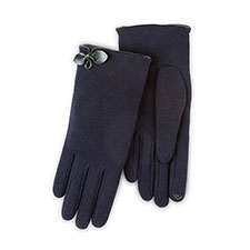 Isotoner Ladies Smartouch Thermal Gloves with Bow Navy
