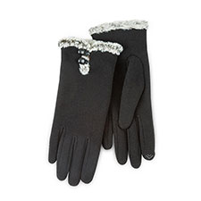 Isotoner Ladies Smartouch Thermal Gloves with Buttons Black