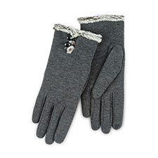 Isotoner Ladies Smartouch Thermal Gloves with Buttons Dark Grey