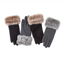 Isotoner Ladies Smartouch Thermal Gloves with Faux Fur Cuff