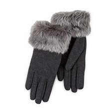 Isotoner Ladies Smartouch Thermal Gloves with Faux Fur Cuff Dark Grey