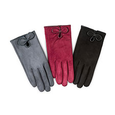 Isotoner Ladies Faux Suede Gloves with Bow
