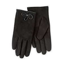 Isotoner Ladies Faux Suede Gloves with Bow Black