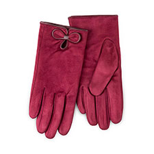 Isotoner Ladies Faux Suede Gloves with Bow Burgundy