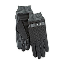 Isotoner Mens Smartouch Quilted Gloves with Rib Cuff and Leather Strap  Black