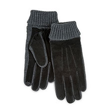 Isotoner Mens Smartouch Suede and Knit Gloves Black