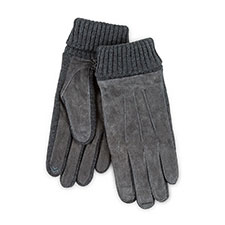 Isotoner Mens Smartouch Suede and Knit Gloves Grey