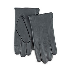 Isotoner Mens Smartouch Water Repellent 3 Point Gloves  Grey