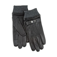 Isotoner Heritage Mens Smartouch Leather Gloves Black