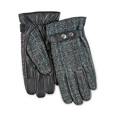 Isotoner Heritage Mens Smartouch Harris Tweed Gloves  Grey