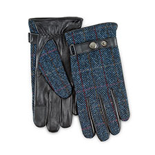 Isotoner Heritage Mens Smartouch Harris Tweed Gloves  Navy