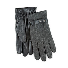 Isotoner Mens Smartouch Woven Gloves  Grey