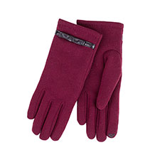 Isotoner Ladies Thermal Glove with Strap & Bow & Smart Touch   Berry