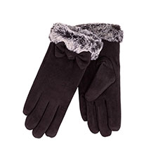 Isotoner Ladies Faux Suede Glove with Bow and Cuff  Black