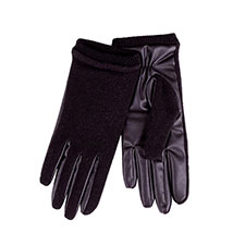 Isotoner Ladies Knit Glove with PU Palm Black
