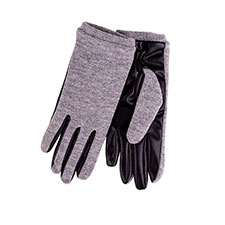 Isotoner Ladies Knit Glove with PU Palm Grey