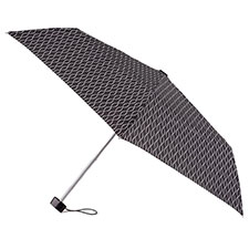 totes Miniflat B&W Wavy Lines Print Umbrella (3 Section)