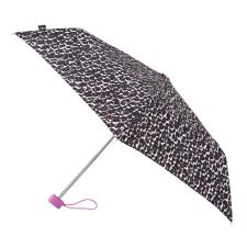 totes Miniflat Pink/Grey Animal Print Umbrella (3 Section)