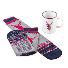 totes Mens Mug & Sock Gift Set Stag